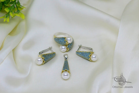925 Silver Turquoise Pearl Set