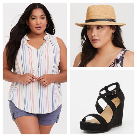 Black wide width strappy platform wedge sandals  paired with faux leather tip fedora and ivory strip pullover tank on Torrid
