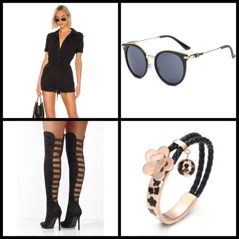 plus size over the knee stiletto boots outfit ideas with sunglasses bracelet and jumper
