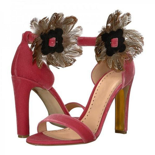 Red Velvet Feather Chunky Heel Ankle Strap Sandals - Plus Size Heels | Size 14 Heels