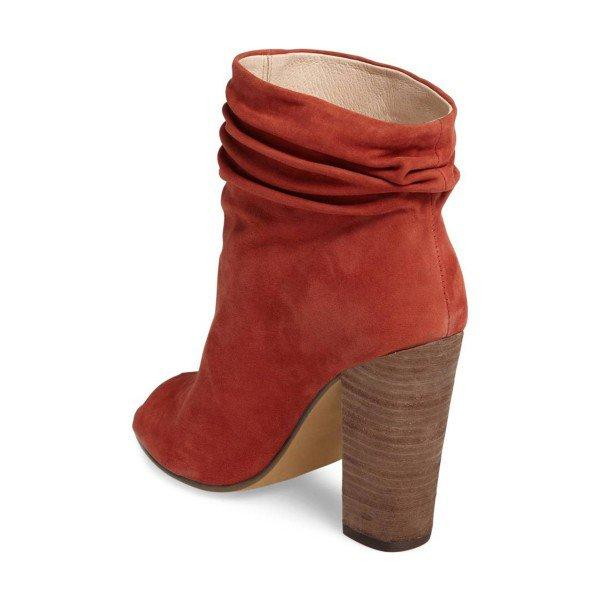 Brick Red Slouch Boots Peep Toe Suede Chunky Heels - Plus Size Heels | Size 11 Heels | Size 12 Heels