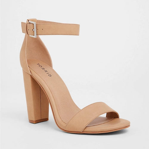 Nude Chunky Heel Sanda l Plus Size Heels l Sizes 11 - 13