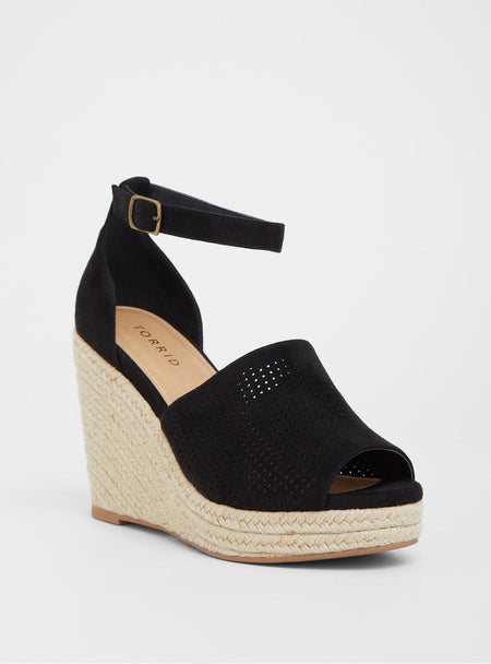 f8dced345e8 Black Perforated Espadrille Wedges.  56.90. White and Purple Polka Dots  Slingback Heels Peep Toe Platform Sandals
