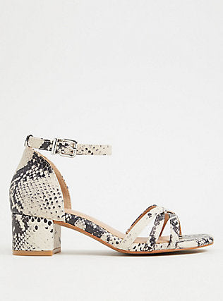 Snakeskin Print Faux Leather Block Heels - Plus Size Heels | Size 14 Heels