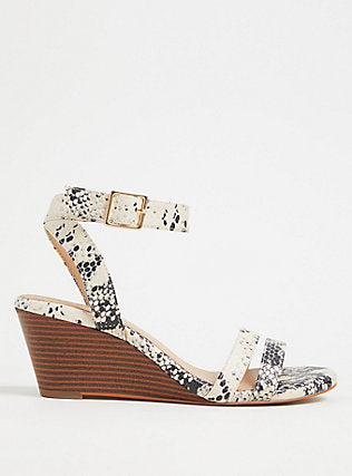 Snakeskin Print Faux Leather Midi Wedge  - Plus Size Heels | Size 14 Heels