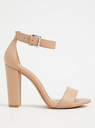 Nude Faux Leather Ankle Strap Tapered Heel  - Plus Size Heels | Size 14 Heels