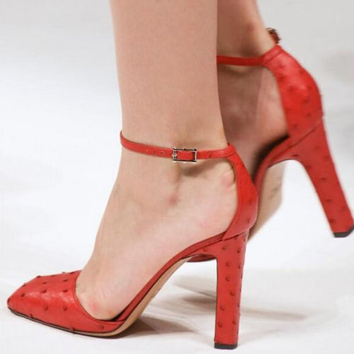 Red Ankle Strap Chunky Heels Pumps - Plus Size Heels | Size 14 Heels