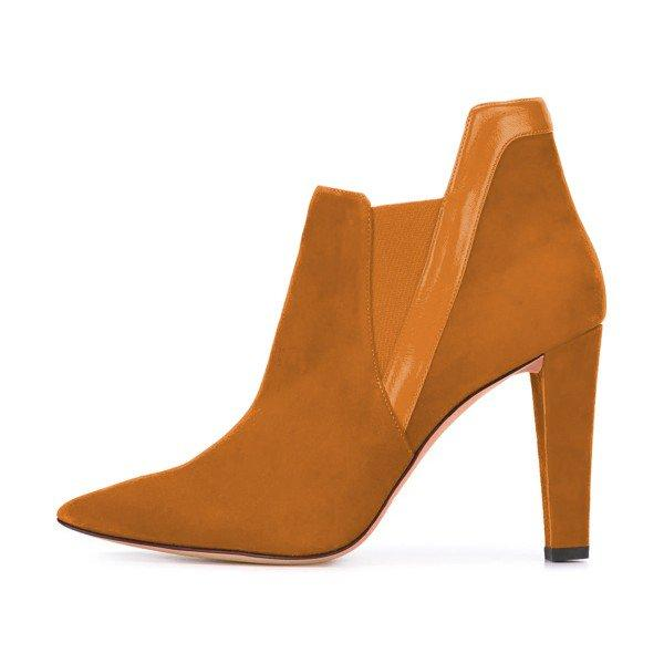 Yellow Suede Commuting Pointed Toe Chunky Heel Boots - Plus Size Heels | Size 11 Heels | Size 12 Heels