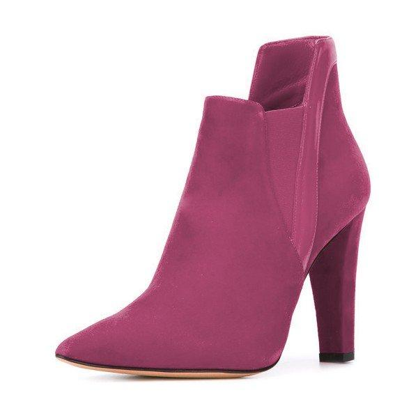 76a9300c204b Plum Commuting Suede Pointed Toe Chunky Heel Boots – Plus Size Heels