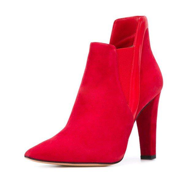 Red Commuting Suede Pointed Toe Chunky Heel Boots - Plus Size Heels | Size 11 Heels | Size 12 Heels