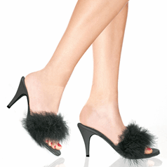 Cute Marabou Sandals - Plus Size Heels | Size 10 Heels