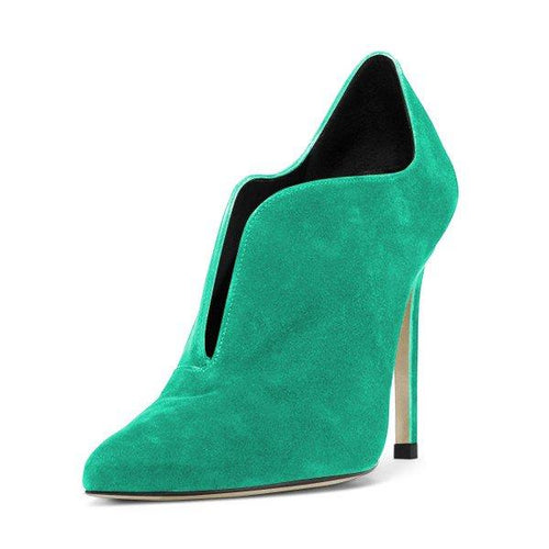 Stiletto Boots Suede Pointy Toe Heeled Booties - Plus Size Heels | Size 11 Heels | Size 12 Heels