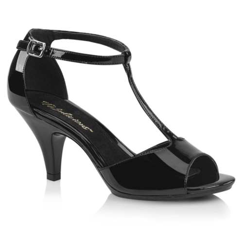 "3"" Heel Platform Closed Back T-Strap Black Sandals - Plus Size Heels 