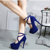 Navy Platform Heels Cross-over Strap Suede Stiletto Heels Pumps - Plus Size Heels | Size 11 Heels | Size 12 Heels