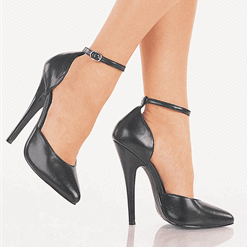 Domina: Black Pumps with Thin Ankle Straps | Plus Size Heels