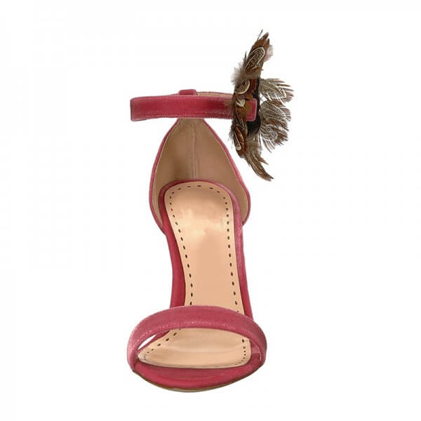 Red Velvet Feather Chunky Heel Ankle Strap Sandals - Plus Size Heels | Size 12 Heels