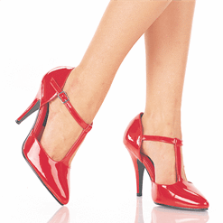Red T Strap High Heels Shoes with Ankle Straps  - Plus Size Heels | Size 12 Heels