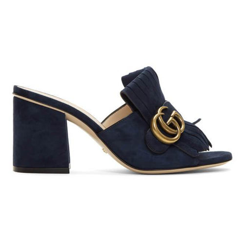 Gucci Navy Suede GG Marmont Slide Heeled Sandals - Plus Size Heels | Size 16 Heels