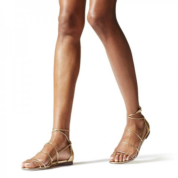 Gold Strappy Flat Gladiator Sandals - Plus Size Heels | Size 10 Heels
