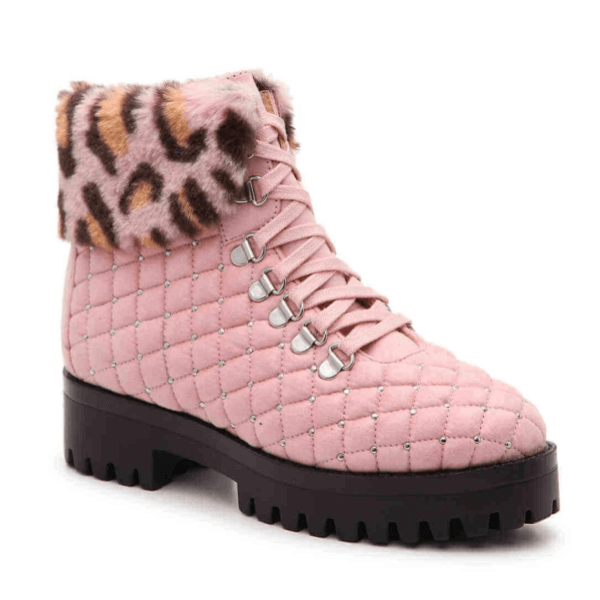 Pink Platform Leopard Print Women's Boots up to Size 13