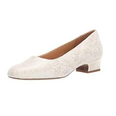 Trotters Doris White Low Heel Pumps | Plus Size Heels | Up to Size 14