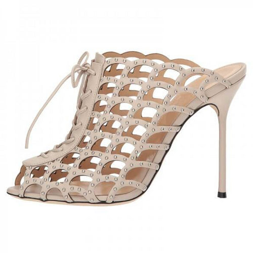Nude Studs Caged Lace Up Mule Heels Sandals - Plus Size Heels | Size 10 Heels
