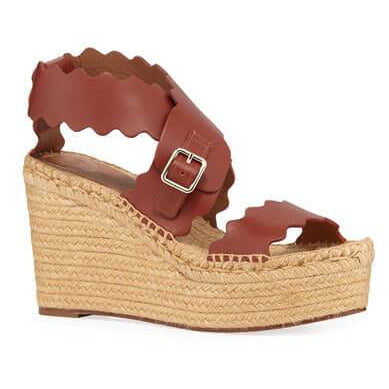 Lauren Scalloped Leather Wedge Espadrilles - Plus Size Heels | Size 10 Heels