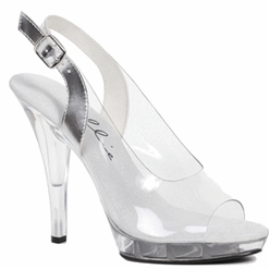 "Ellie Shoes: 5"" Clear Heel Wide Width Spring Sandals - Plus Size Heels 