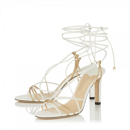 White Strappy Heels Stiletto Heel Sandals - Plus Size Heels | Size 16 Heels