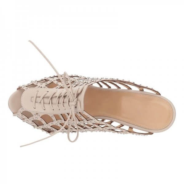 Nude Studs Caged Lace Up Mule Heels Sandals - Plus Size Heels | Size 13 Heels