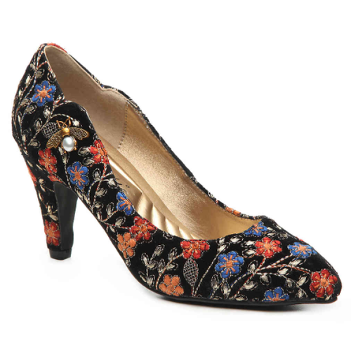 Bea Embroidered Floral Pumps - Plus Size Heels | Size 11 Heels