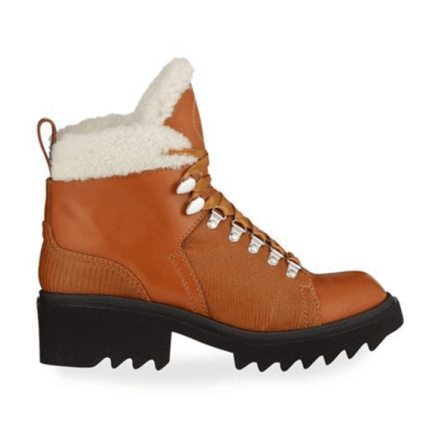 Bella Leather Fur-Lined Hiker Booties Up to Size 13