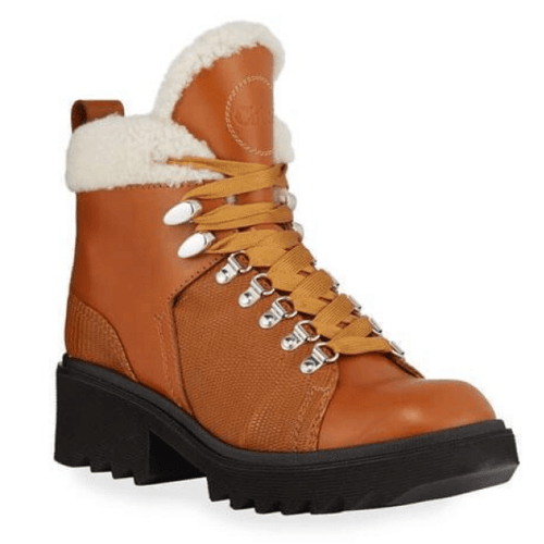 Bella Leather Fur-Lined Hiker Booties Size 11, 12, 13