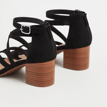 Load image into Gallery viewer, Black Faux Suede Strappy Block Heel Sandal in Size 12 Back View