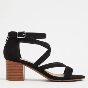 Black Faux Suede Strappy Block Heel Sandal in Size 11 Side View