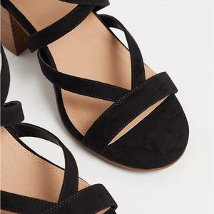 Black Faux Suede Strappy Block Heel Sandal in Size 13 Toe View