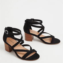 Load image into Gallery viewer, Black Faux Suede Strappy Block Heel Sandal in Size 10