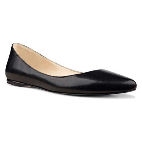 Black Leather Almond Toe Flats in Size 10