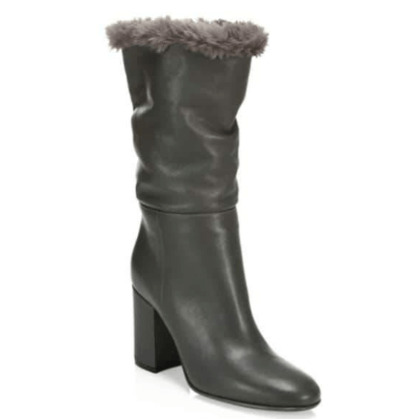 Black Faux Fur-Trimmed Leather Boots sizes 11, 12
