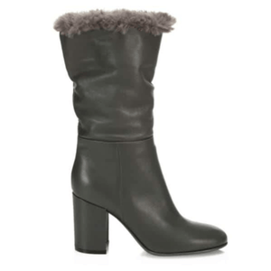 Black Faux Fur-Trimmed Leather Boots