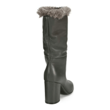 Load image into Gallery viewer, Black Faux Fur-Trimmed Leather Boots