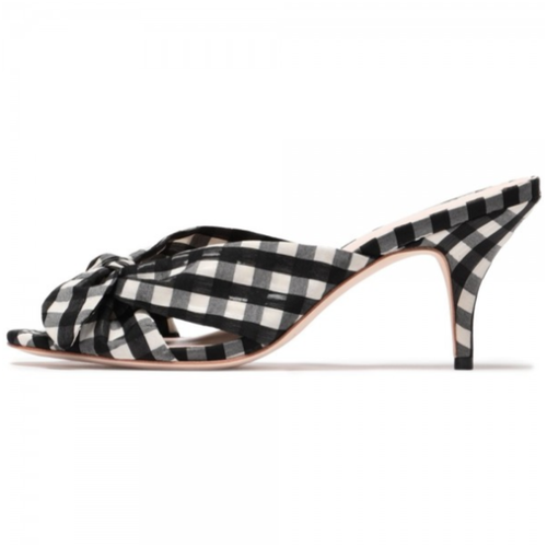 Black and White Plaid Bow Stiletto Heel Mule - Plus Size Heels | Size 14 Heels