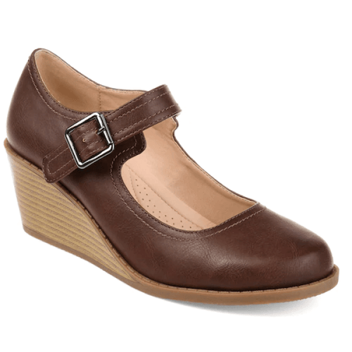 Comfy Brown Mary Jane Wedges in Size 10