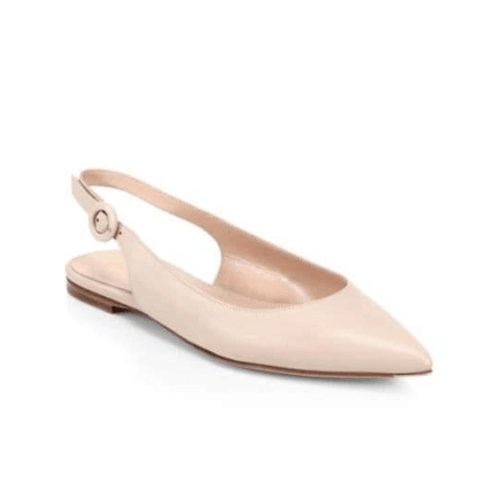 Cream Colored Leather Slingback Flats