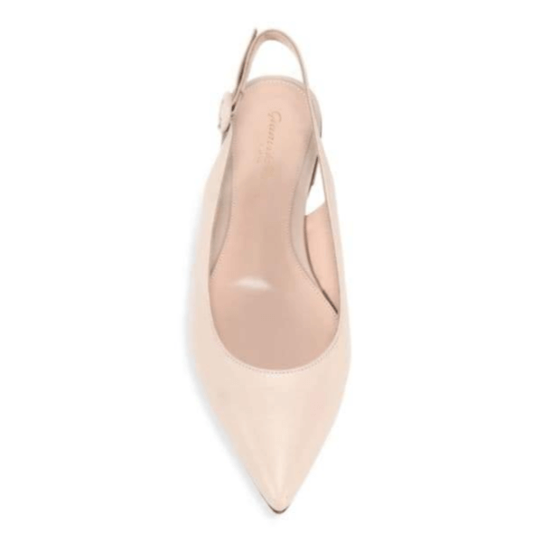 Cream Colored Leather Slingback Flats Top View