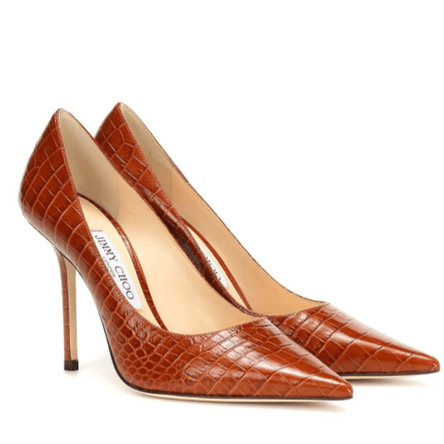Croc-Embossed Red Leather Pumps