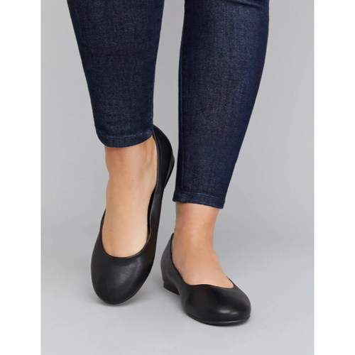Faux Leather Round-Toe Flat - Plus Size Heels | Size 14 Heels