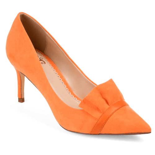Frilled Low Heel Pumps Orange Size 11