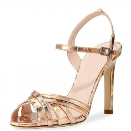 Gold Evening Shoes Open Toe Stiletto Heel Sandals - Plus Size Heels | Size 14 Heels