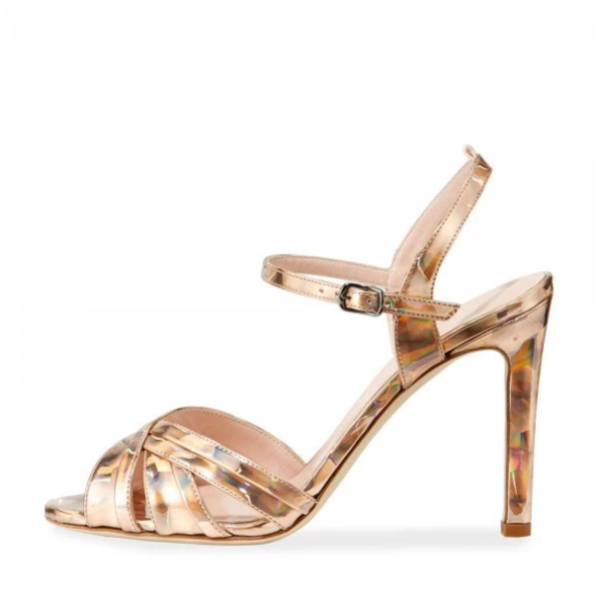 Gold Evening Shoes Open Toe Stiletto Heel Sandals - Plus Size Heels | Size 10 Heels